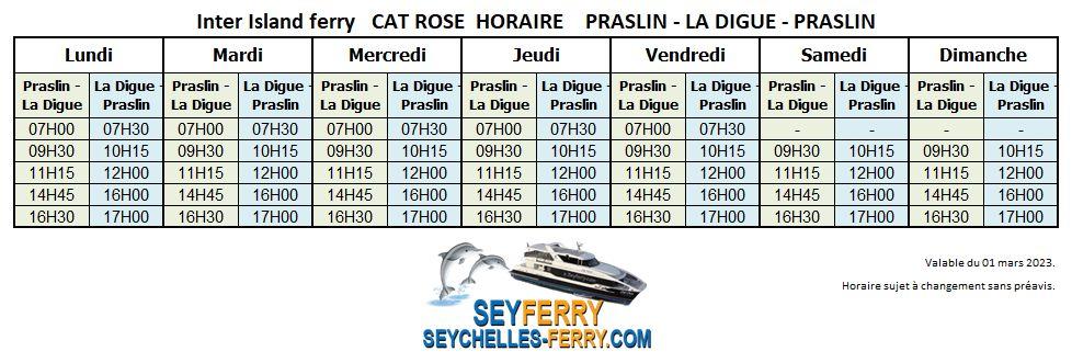 Horaires Cat Rose ferry