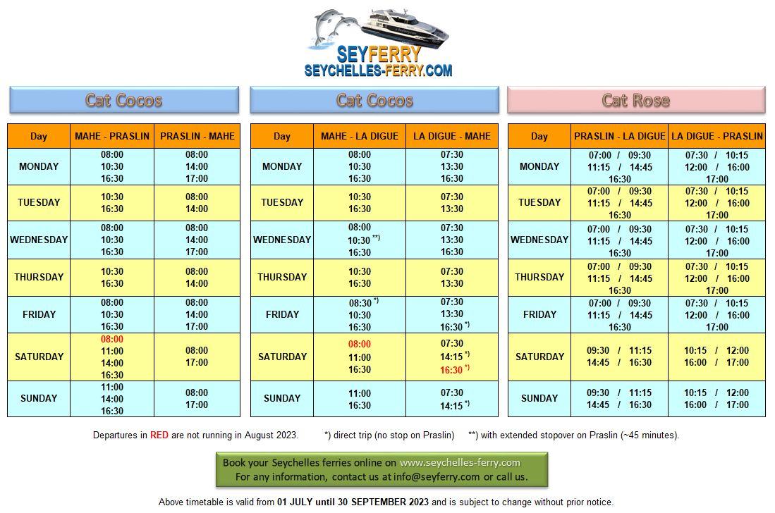 Seychelles ferry schedule Mahe - Praslin - La Digue